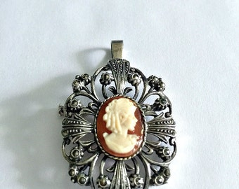 Victorian Style Cameo Brooch Pendant, Carved Shell Cameo Necklace