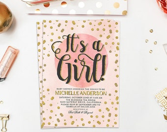 Baby Shower Invitation, Baby Sprinkle Invitation, Girl Baby Shower, Sip and See Invitation, Baby Shower Invite, Baby Shower Card