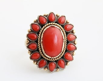 Victorian Era 14 k gold and red coral ring / Mediterranean red coral / Victorian ring / 14 k gold / 585 gold / red coral ring/ antique coral