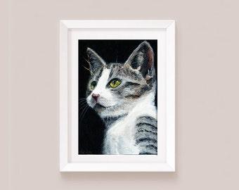 Art print Tabby kitten painting tabby cat print Digital download from original painting cat tabby and white cat art print painting