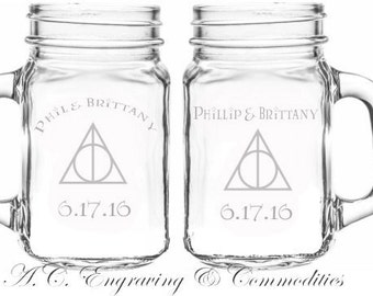 Set of 2 Harry Potter Inspired Glass Mugs; Personalized Mason Jar Glasses; Vintage Glass Mugs; For Weddings, Anniversaries, Special Occasion