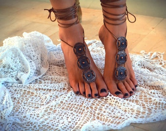 "Women barefoot sandal ""Athena"", foot jewellery, soleless sandals, ankle jewellery, beach jewellery"