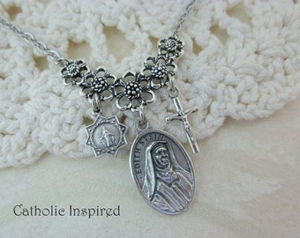 St Edith Stein Necklace - Jewish Star Crucifix Charms - Teresa Benedicta of the Cross - Saint Catholic - Miraculous Medal Stainless Steel