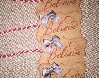 Set of 4 Holiday Believe Gift Tags