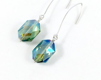 Green Crystal Earrings, Blue Crystal Earrings, Crystal Dangle Earrings, Silver Crystal Earrings, Crystal Gemstone Earrings, Gifts for Her