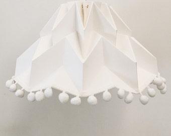 Fuji Lamp with Pon Pon Trim / origami lampshade