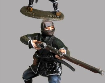 Medieval Toys Figures 1/32 Scale Japanese Ninja Shooter Toy Soldiers Hand Painted 54mm Tin Metal Miniature