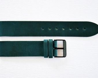 Green watch strap, Leather watch strap, 20mm watch strap, Watch band, 20mm Watch band, Leather watch band, Watch straps, Watch bands