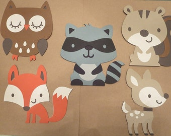 Woodland cutouts, Woodland die cuts, Woodland animal die cuts owl, squirrel, raccoon, fox, fawn