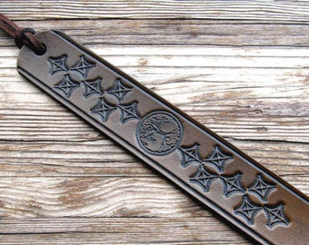 Leather Bookmark-Tree of Life-Leather Book Mark-Tooled Book Marker-Handmade Bookmarks-Book Accessories-Custom Gifts-Birthday-Anniversary