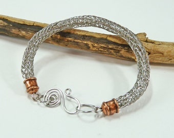 Man's Wirework Bracelet, Viking Knit Bracelet, Woven Bracelet, Stainless Steel, Copper, Boyfriend Gift, For Him, Norse Jewelry, Viking Weave
