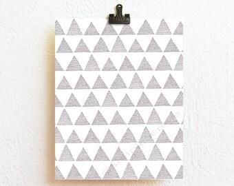 Printable Art Black and White Minimalist Room Decor, Geometric Art Print, Triangle Abstract Art, Modern art Instant Download