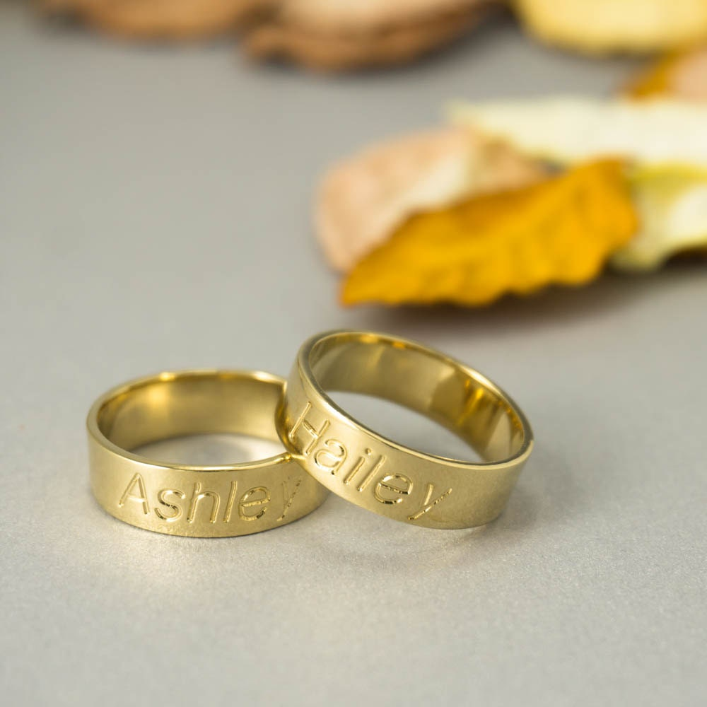 Personalized Band Ring Custom Name Ring Rose By