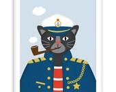 Nautical Print Captain Panther | Nautical Nursery + Wall Art Kids | modern Kids Room |  Poster Nursery, Nautical Print