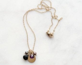 Black Spinel, Purple Amethyst, & Freshwater Pearl Amulet Charm Dark Midnight Iridescent Delicate Disc Cluster Necklace // 14K Gold Filled