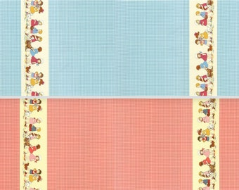 Cotton fabric retro Petite Marianne Double Border Gingham - Lecien of Japan