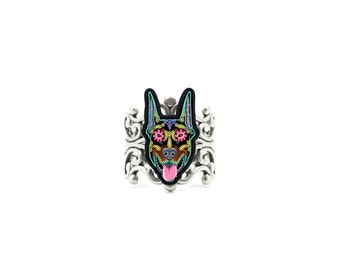 Doberman Ring - Cropped Ear Edition - Day of the Dead Sugar Skull Dog Adjustable Ring