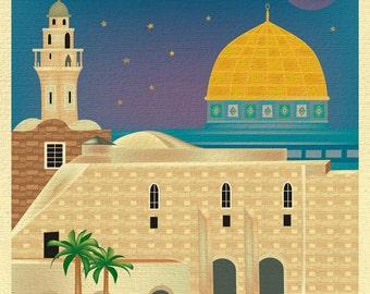 Jerusalem art, Jerusalem print, Jerusalem canvas art, Jerusalem poster, Jerusalem travel art gift, Jerusalem Al-Aqsa Mosque art - E8-O-JERU