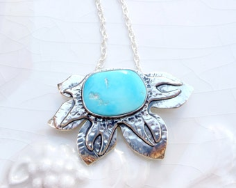 Funky Stapelia Necklace - Battle Mtn. Blue Gem Turquoise, Nevada, Sterling Silver, Rare Stone Flower Pendant