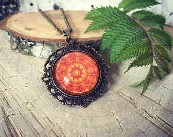 Orange Mandala Necklace,Antique Bronze Pendant,Glass Cabochon Pendant With Chain