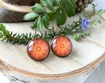 Orange Mandala Earrings, Antique Copper, Glass Cabochon, Mandala Jewelry