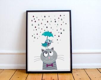 Nursery art print with bird and cat, gray blue, animal, baby nursery decor, baby room decor, kids art print, kids wall art, children decor,