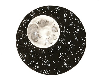 Original watercolor painting Moon illustration space art stars galaxy black and white lunar