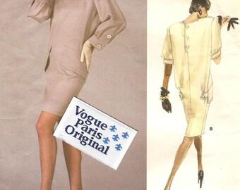 VOGUE SALE Yves Saint Laurent Paris Original Dress With Label Size 8 Sewing Pattern 1988