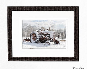 Antique Tractor Wall Art Prints Photo Greeting Cards Country Winter Scene Winter Photography Snow Scene Rustic Home Decor Farmhouse Decor