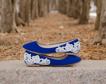 Blue Ballet Flats, Wedding Flats, Blue Flats,Bridal Shoes,Low Wedding Shoes,Blue Bridal Flats,Gift,Something Blue Lace Flats with Ivory Lace