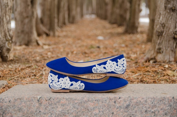 Blue Flats with Ivory Lace
