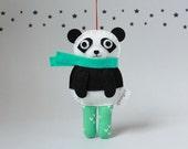 Personalized Panda Ornament, Bear Ornaments, Felt Animal Christmas Ornament, Custom Name Date Ornament, Xmas Tree Decorations, New Baby Gift