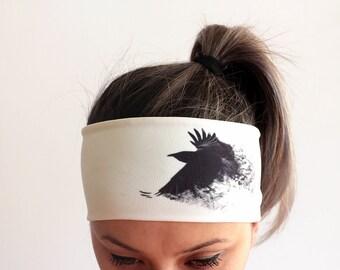 Yoga Headband - Workout Headband - Fitness Headband - Running Headband - Boho Headband - Double layer - Black Bird Headbands crow Y74