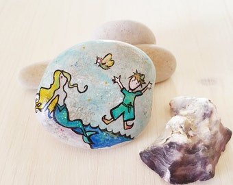 Peter Pan Art with Tinker Bell and the Mermaid in Neverland original mixed media art handpainted on stone unique numbered and signed artwork