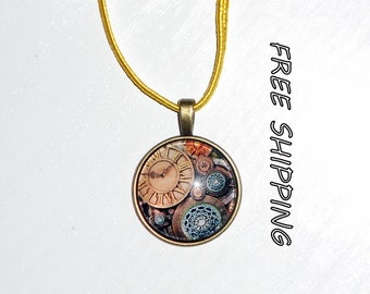 retro clock glass cabochon necklace