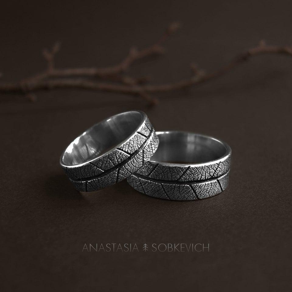 sterling silver leaf ring wedding bands elvish engagement ring leaf imprint forest wedding rustic wedding ring woodland ringmens ring - Elvish Wedding Rings
