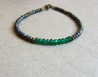 Green Onyx and Pyrite Faceted Bead Bracelet // Antiqued Brass Bead Accent // Beaded Gemstone Bracelet