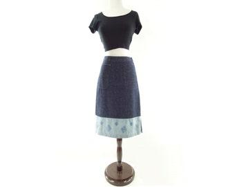Vintage Denim Skirt, Denim Pencil Skirt, 90s Denim Skirt, Blue Pencil Skirt, High Waist Skirt, Dark Denim Skirt, Navy Blue Skirt, s