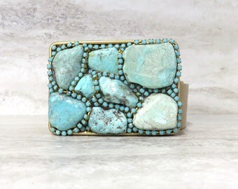 Turquoise Buckle - Belt Buckle with Turquoise Stones & Rhinestones last one