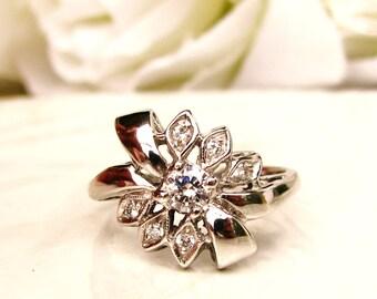 Vintage Engagement Ring Unique Ribbon & Bow 0.21ctw Diamond Promise Ring 14K White Gold Diamond Wedding Ring Bridal Jewelry Size 6