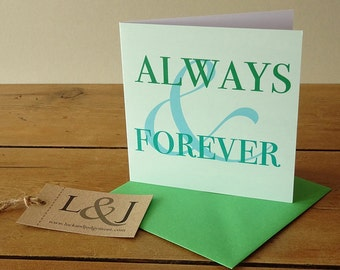 Sweet Card - Anniversary Card - Romantic Card - Always & Forever - Greeting Card - Love Card - Be My Always - I Love You - Sweet Card - Cute