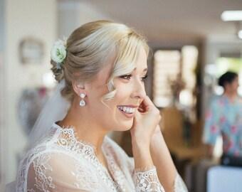 Bridal Earrings Rose Gold Wedding Earrings Wedding Jewelry Drop Earrings Halo Earrings Bridal Jewelry Rose Gold Earrings