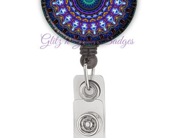 Mandala Retractable ID Badge Holder Reel, Mandala Badge Holder, Mandala Badge Reel, Nurse Badge Tag Badge Reel - GG2113