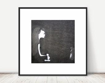 STAND-OFF - girl, prairie dog, black and white print, animal illustration, girls room, wall art, original artwork, charcoal drawing, 8x8