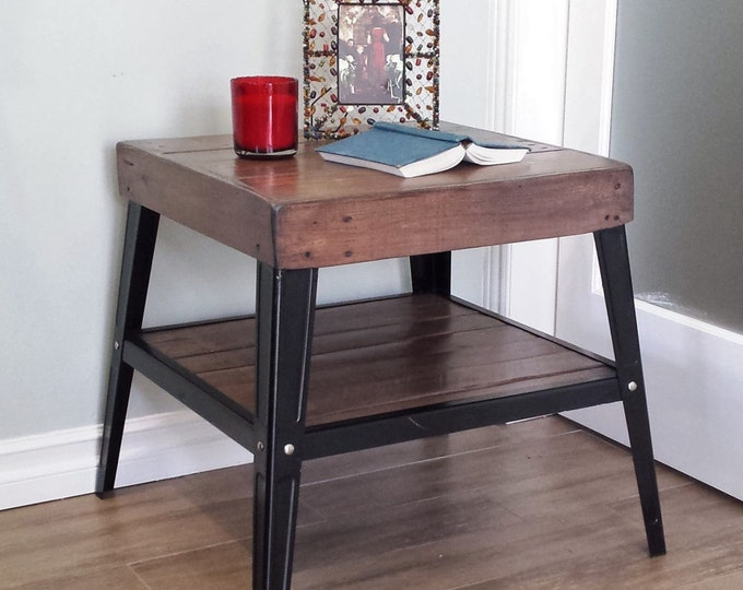 Industrial End Table with Reclaimed Wood Top
