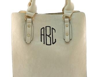 Personalized Beige Handbag