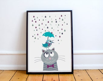 Nursery art print with bird and cat, gray blue, animal, baby nursery decor, baby room decor, kids art print, kids wall art, children decor,