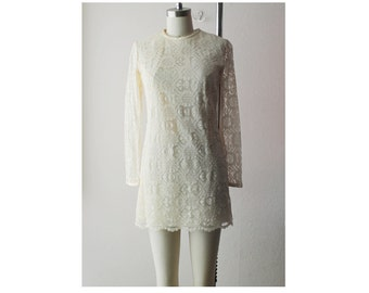 1960s Cream Custard Lace Dress