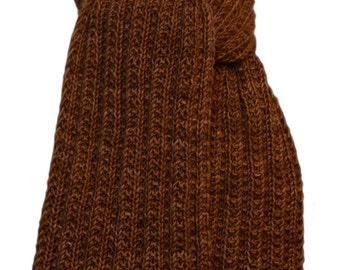 Hand Knit Scarf - Brown Sugar Keji Cashmere Trail Rib