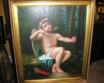 Vintage Religious Angel/Cherub,Nude Cubid Spanish Colonial School Oil Painting on Canvas Framed Romantic Art..Signed.
